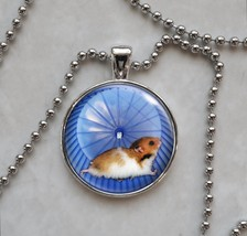 Hamster on Wheel Running Cute Tiny Animal Pendant Necklace - £10.64 GBP+