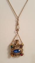 Vintage Victorian Revival Multicolor Perfume Bottle Urn Pendant Necklace  - $90.00