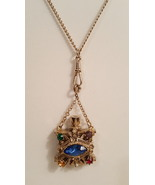 Vintage Victorian Revival Multicolor Perfume Bottle Urn Pendant Necklace  - $90.00