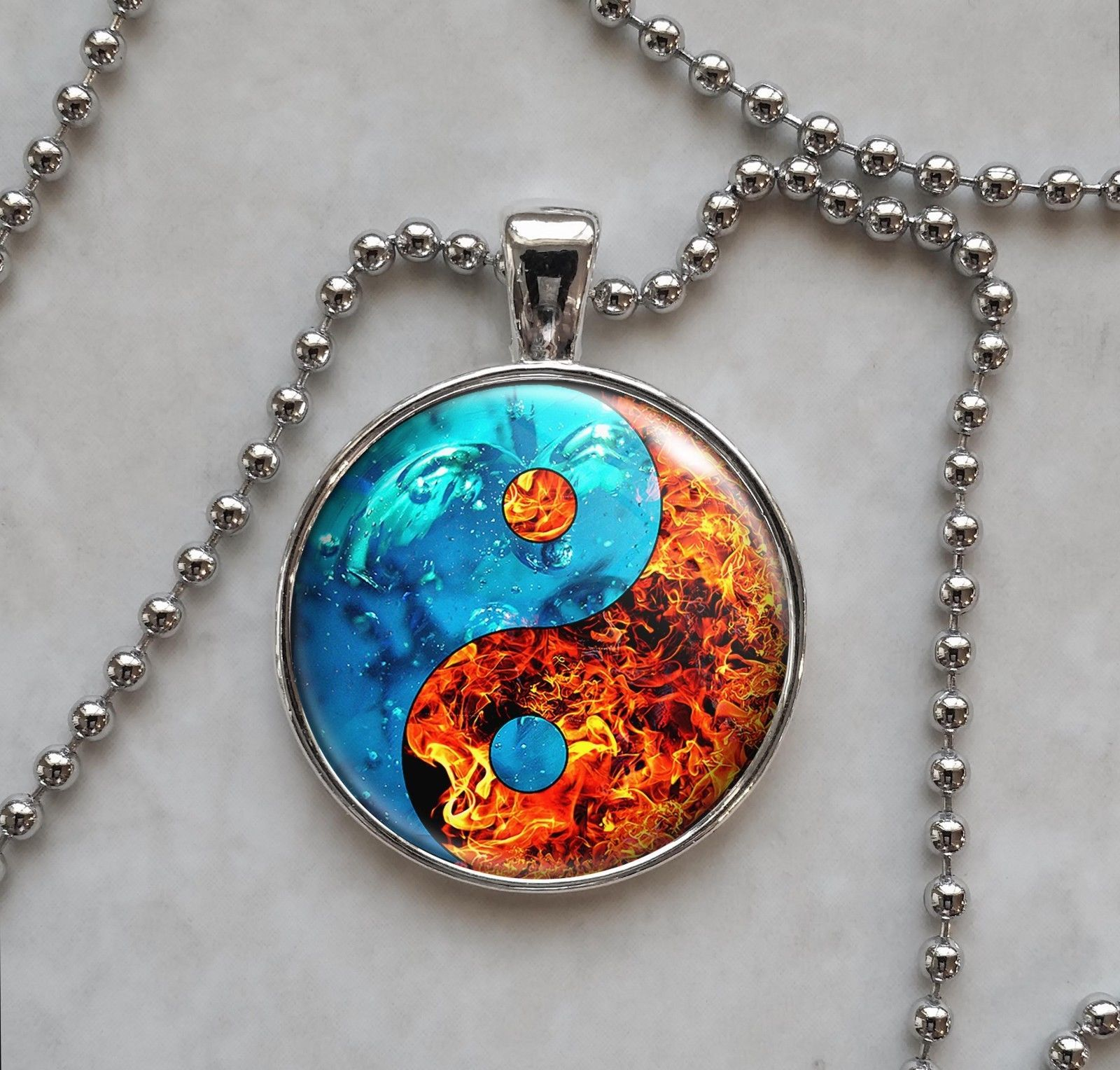 Fire Water Yin Yang Taoism Confucianism Pendant Necklace