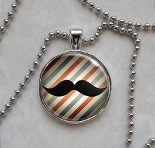 Old Timey Mustache Sir Barbershop Barber Pole Pendant Necklace - £10.64 GBP+