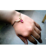 Angel Wings Heart Bracelet Gold Wings Pink Heart Gem Bracelet Gold Wings... - $32.00