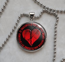 Broken Heart Stitched Together Emo Goth Love Pendant Necklace - £10.04 GBP+