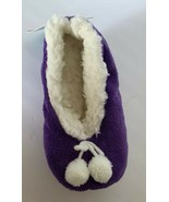 Sherpa Lined Cozies Slippers S/M 6-7.5 Purple With Ivory Pom Pom Detail NWT - $9.90