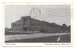 Riding Hall, Edgewood Arsenal, Maryland, Postcard Mailed 1942, Lt. S. J.... - $4.00