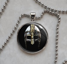 Metal Viking Helmet Steel Battle Medieval Dark Ages Pendant Necklace - $14.00+
