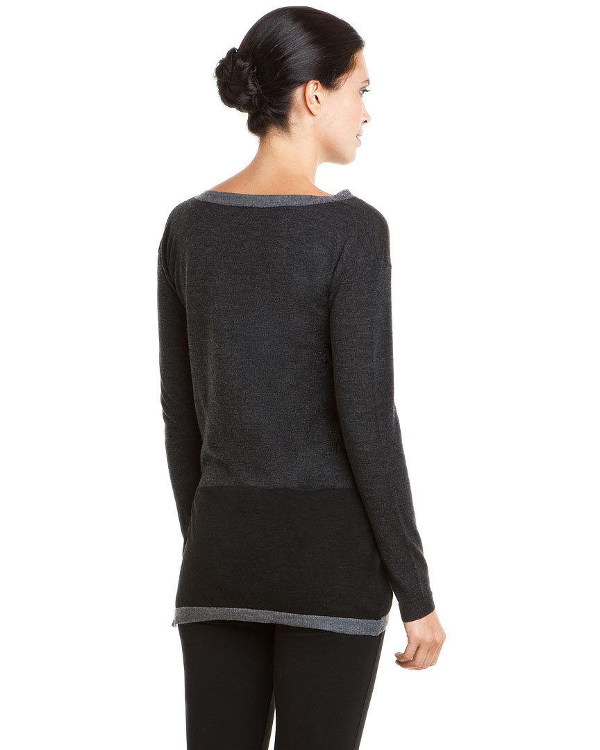 Adrienne Vittadini Grey Colorblock Knit Top Sweater Small NWT $198