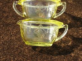 Hocking Glass Princess Topaz Creamer & Open Sugar Bowl Made in USA - $39.99