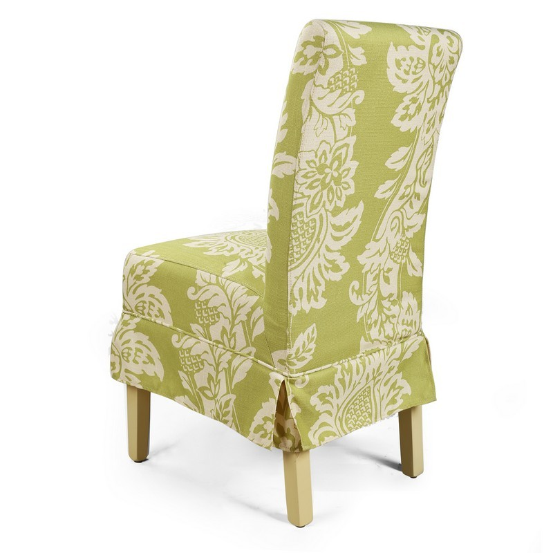 Adeco side dining fabric white flower dining chair green for White fabric dining chairs
