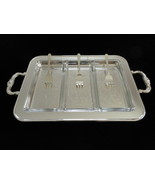 Eales of Sheffield 1779 Silver Plate Relish Tray Three Glass Inserts & F... - $60.00