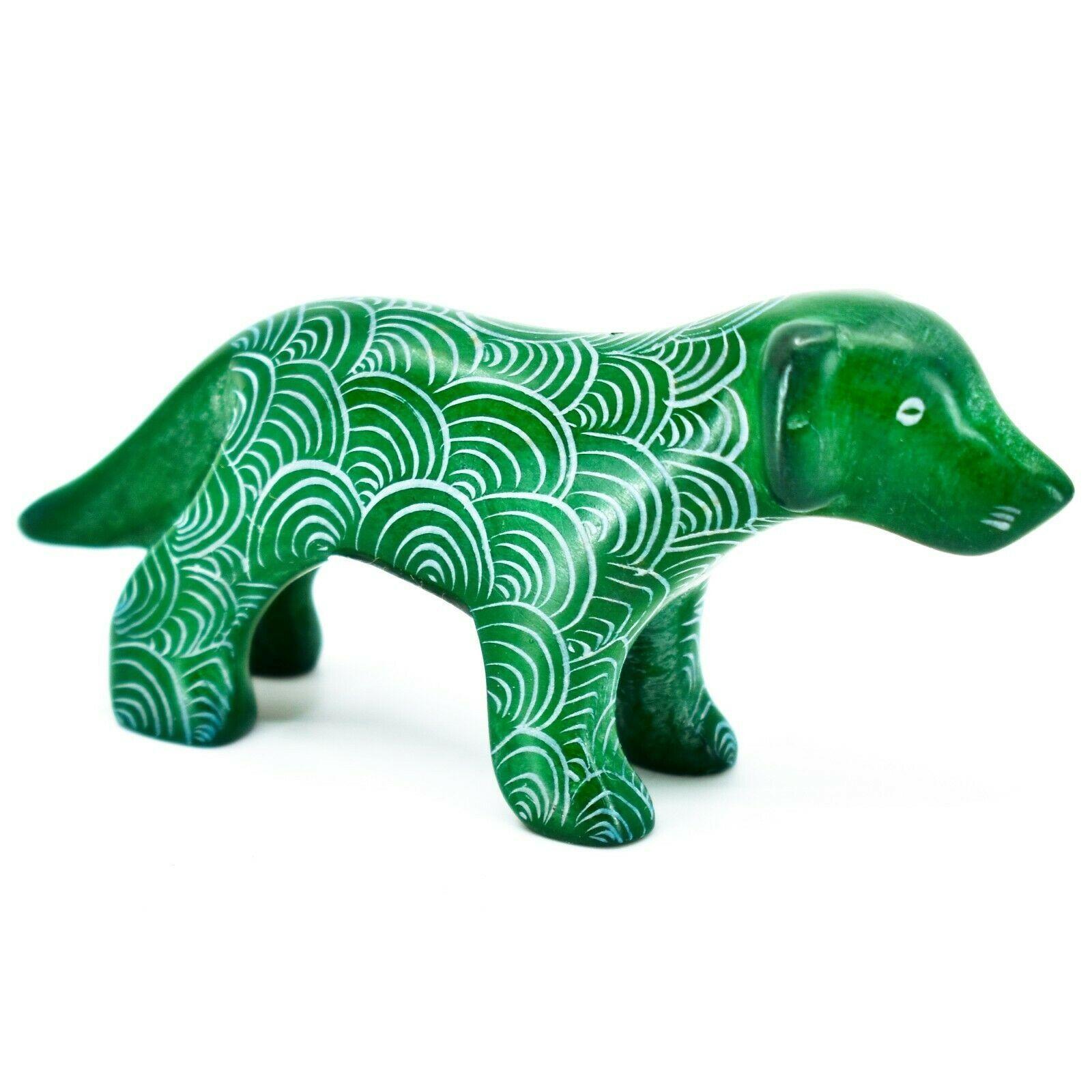 Vaneal Group Hand Carved Kisii Soapstone Green Standing Puppy Dog Figurine Kenya