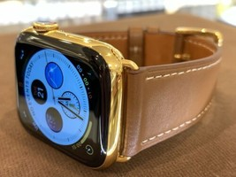 44mm Apple Watch Series 4 Stainless Steel Case Custom 24K Gold Plated Brown Band - $1,234.09