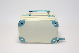 Pottery Barn Audrey Jewelry Box Suitcase IvoryLight Blue Vintage Style New - $89.10