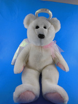 "Ty HERALD White w Pink pads Christmas Angel Bear 14"" Beanie Buddy Plush ... - $8.31"