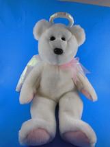 "Ty HALO White w Pink pads Christmas Angel Bear 14"" Beanie Buddy Plush 1999 - $9.28"