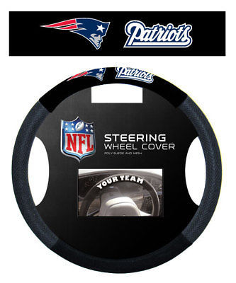 NEW ENGLAND PATRIOTS SUEDE CAR STEERING WHEEL COVER NFL FOOTBALL
