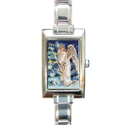 Ladies Rectangular Italian Charm Watch Christmas Angel Tree Gift model 32879289