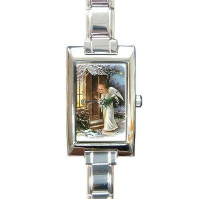Ladies Rectangular Italian Charm Watch Christmas Ange Gift model 16795465