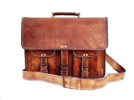 Men's genuine vintage leather brown messenger shoulder computer laptop bag G7SH - $32.18