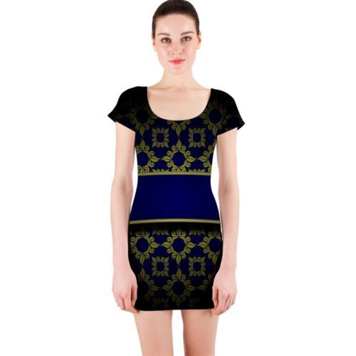 Cute Antique Gold Fitted Bodycon Dresses - Size & Sleeve Options