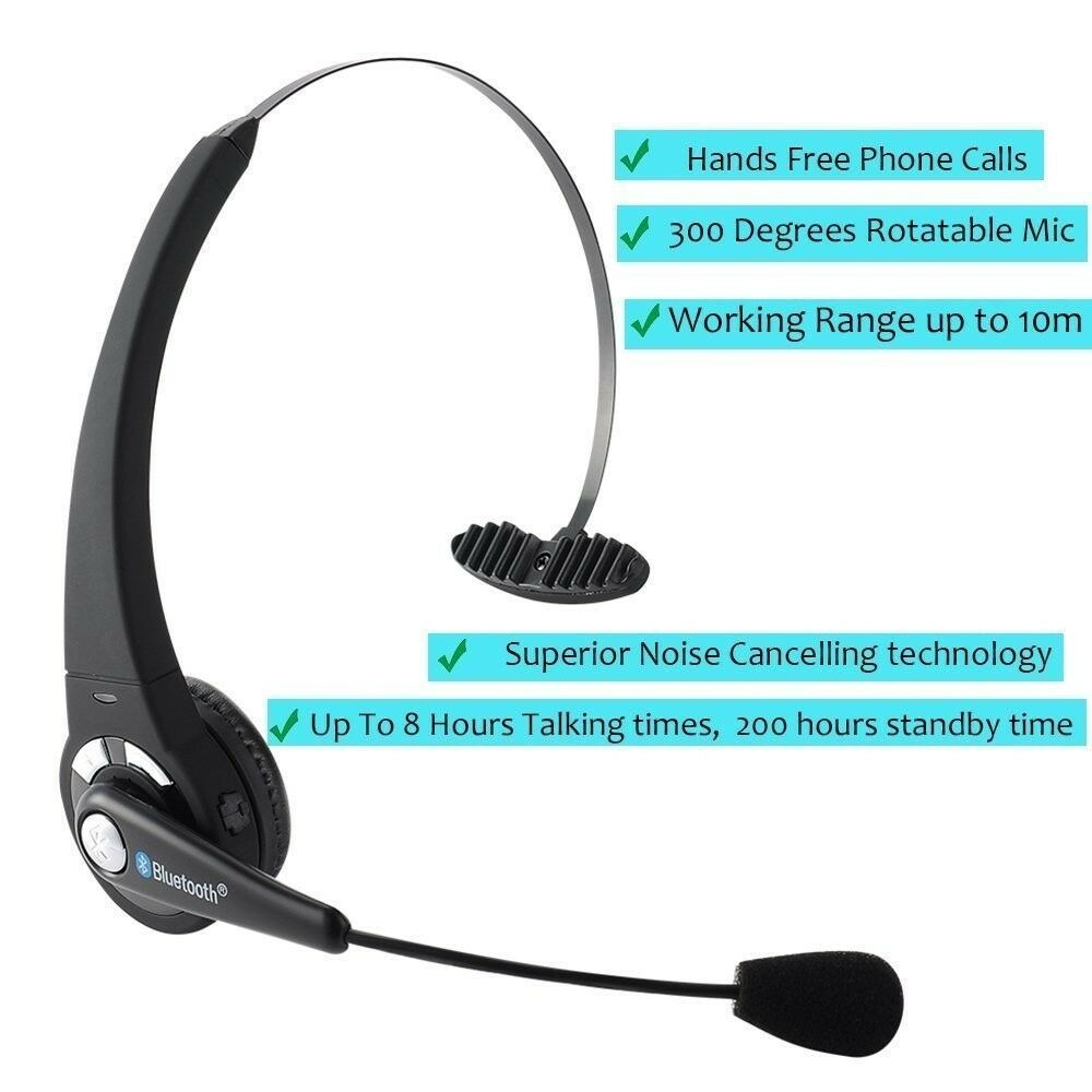 Wireless Bluetooth Trucker Noise Cancelling Headset Over Head Handsfree With Mic