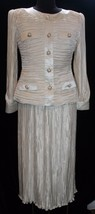 George F Couture 10 Ivory Skirt Suit 2pc Crinkle Formal Mother of Bride ... - $77.09