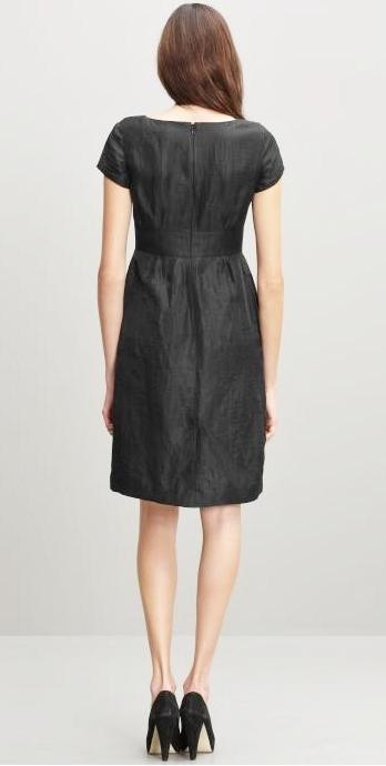 Banana Republic Petite Black Crinkle Day Dress Size 0P NWT $150