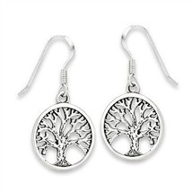 Intricate 925 Sterling Silver Tree of Life Dangle Earrings - $18.57