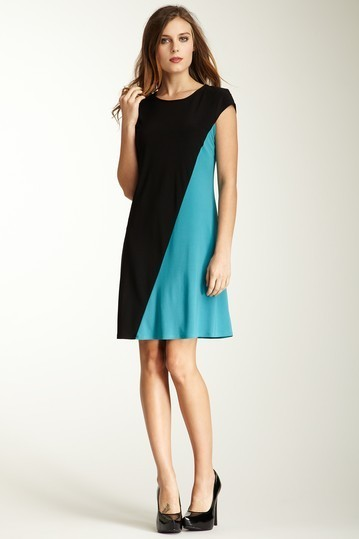 ABS Short Sleeve Colorblock Dress Small NWT $152
