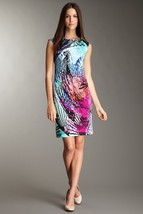 Ellen Tracy Cap Sleeve Printed Jersey Dress Sz 2 NWT $129 - $59.00