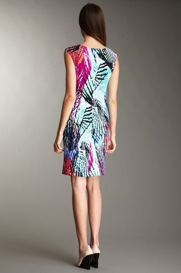 Ellen Tracy Cap Sleeve Printed Jersey Dress Sz 2 NWT $129