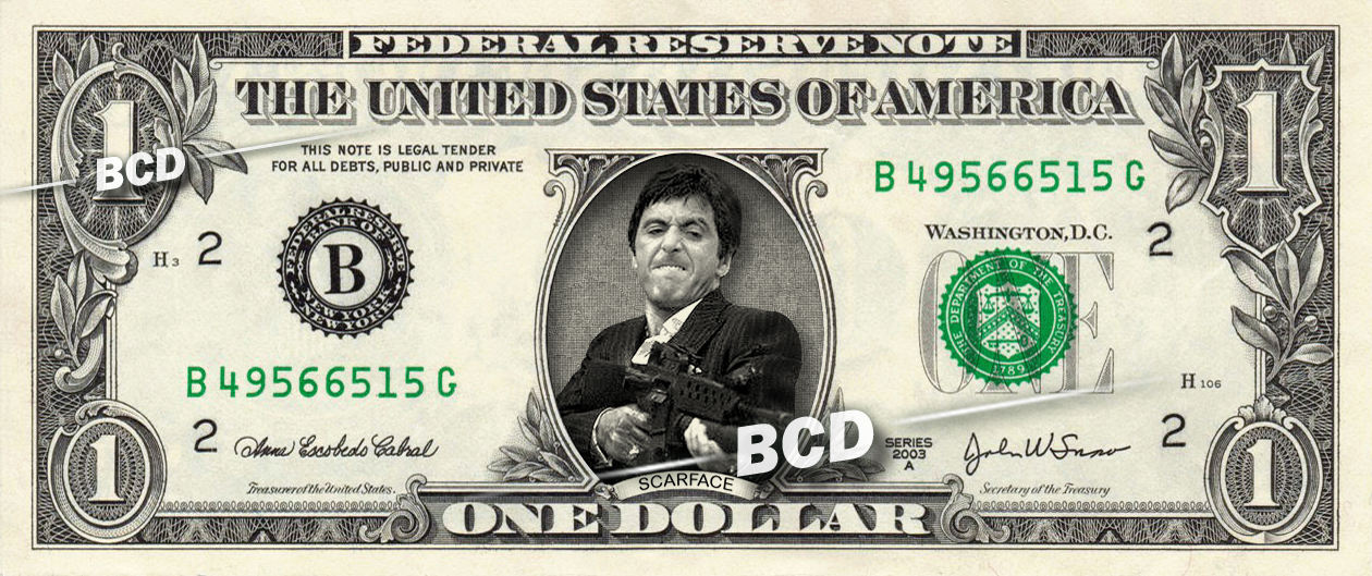 Primary image for SCARFACE Tony Montana Al Pacino on Dollar Bill Cash Money Collectible Celebrity
