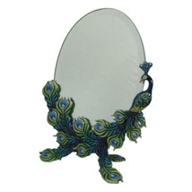 Welforth Beautiful Green Peacock Color Pewter Metal Oval Standing Mirror... - $44.55