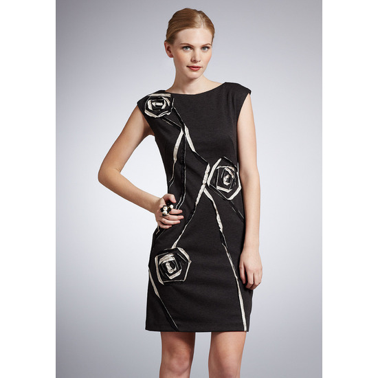 Suzi Chin Cap Sleeve Shift Dress With Ribbon Detail Size 2 NWT $138