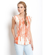 Kas Orange Printed Sienna Top Size XS  NWT $120 - $49.00
