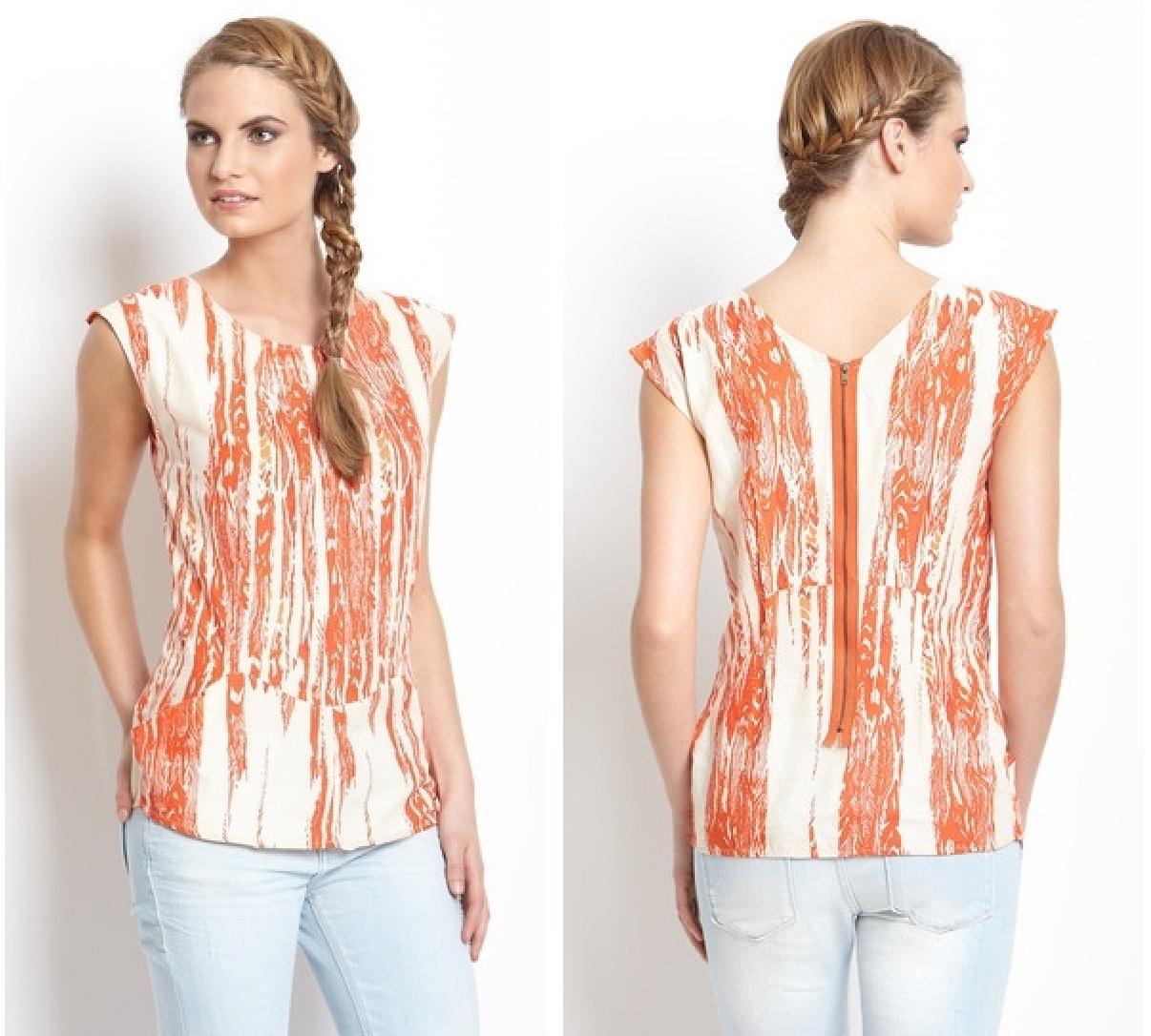 Kas Orange Printed Sienna Top Size XS  NWT $120