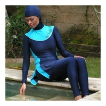 Muslim Swimwear Swimsuit Woman Beach Burqini  sapphire blue - $57.99