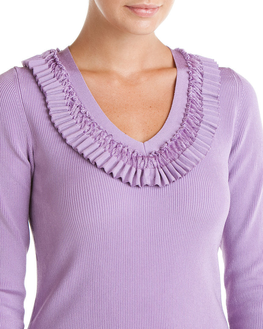 Rachel Roy Amethyst Pleated V-Neck Top Sweater Small NWT $345