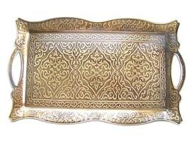 Turkish Ottoman Coffee Tea Serving Tray St.Steel  Antique Style,Vintage ... - £29.64 GBP