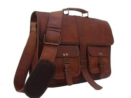 Men's Messenger Genuine Vintage Leather Shoulder Laptop office Bag brief... - $42.81