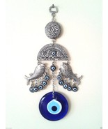 Two Fishes  Wall Hanging Amulet Turkish Silver Plated Evileye - $13.09