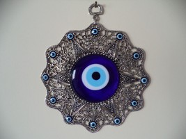 Wall Hanging Amulet Turkish Silver Plated &  Evileye - $15.88