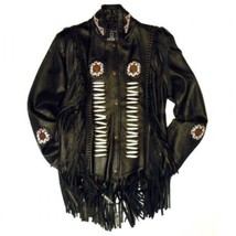 Men Black Leather Native AMERICAN Fringe Bones ... - $219.00 - $229.00