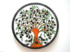 Handmade Pottery Turkish Kutahya Ceramic 6,5''  Hot Plate -Trivet Olive Tree - $20.37