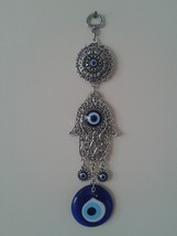 Hamsa Hand Religious Wall hanging Amulet  silver plated & Evileye - $15.88