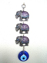 Wall Hanging Amulet Turkish Silver Plated 3 Elephents Purple & Evileye 27 cm - $15.88