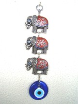 Wall Hanging Amulet Turkish Silver Plated 3 Elephants Red Color & Eviley... - $15.88