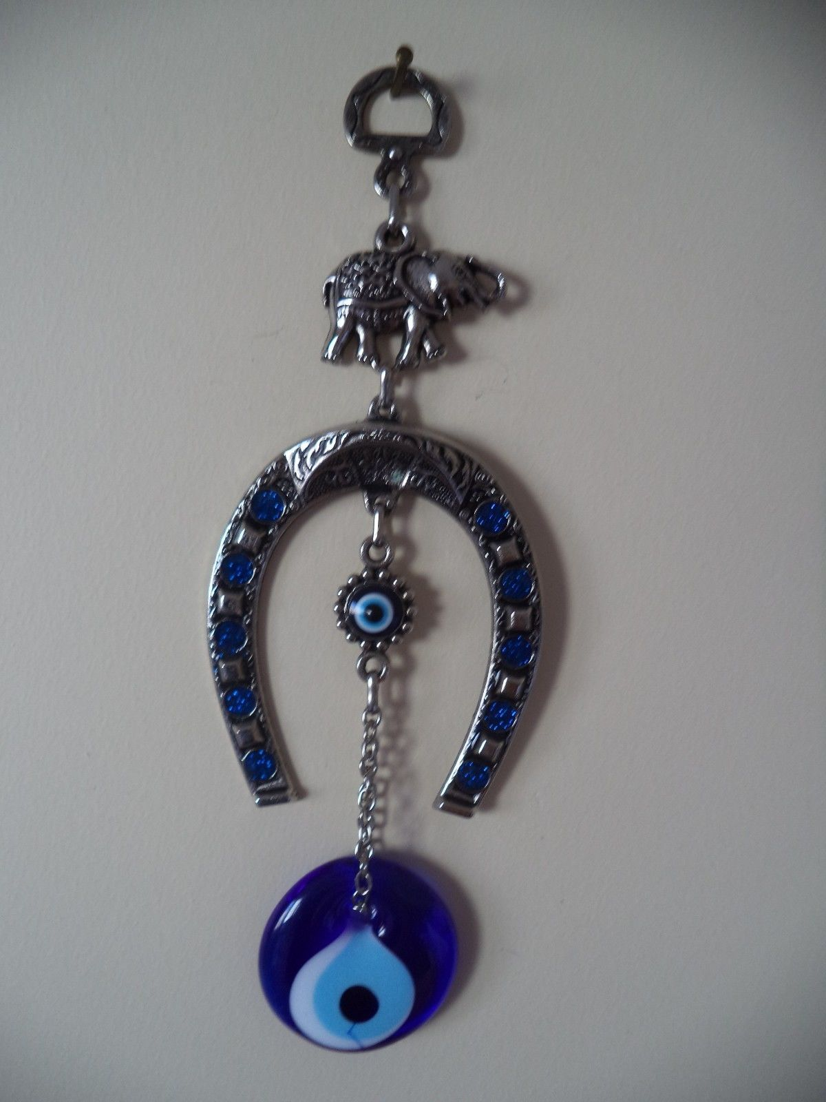 Wall Hanging Amulet Turkish Silver Plated Horseshoe &  Evileye
