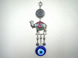 Wall Hanging Amulet Turkish Silver Plated Green Color Camel  & Evileye  27.5 cm - $14.95