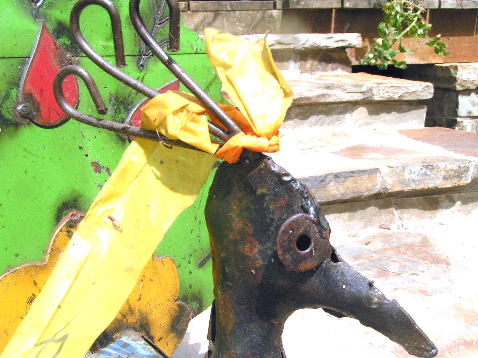 Metal Yard Art Green PEACOCK Recycled Junk Iron Big Bird Green Garden BZ
